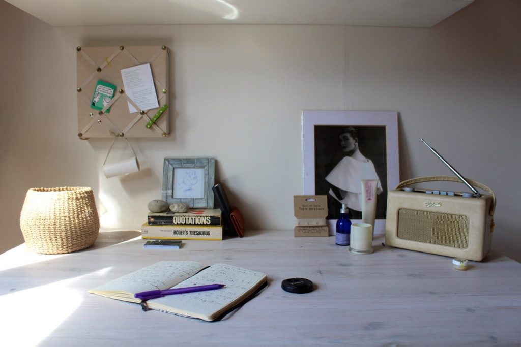 The desk of writer and stylist Sian M. Lewis