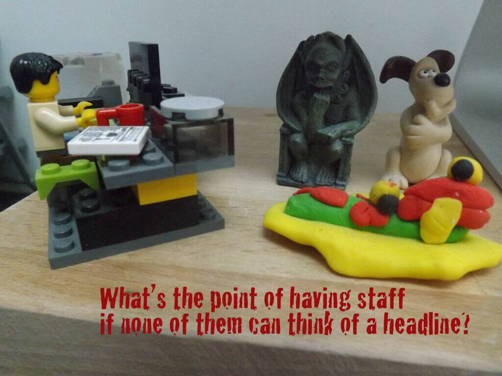 Andy Maslen features on The Writing Desk, image shows Lego figures where he works.
