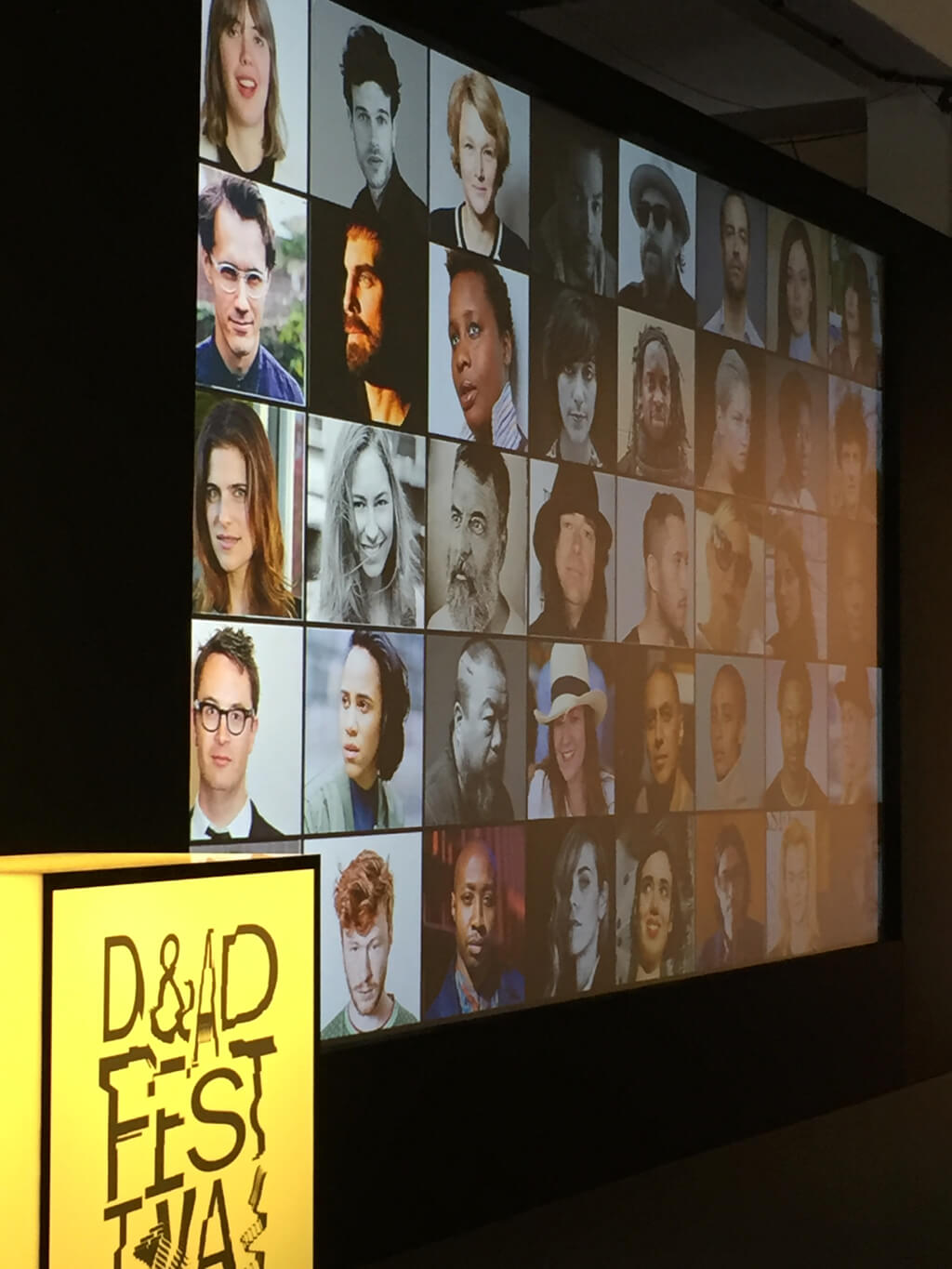 D&AD Festival 2017 stand showing the logo and images from Nowness presentation